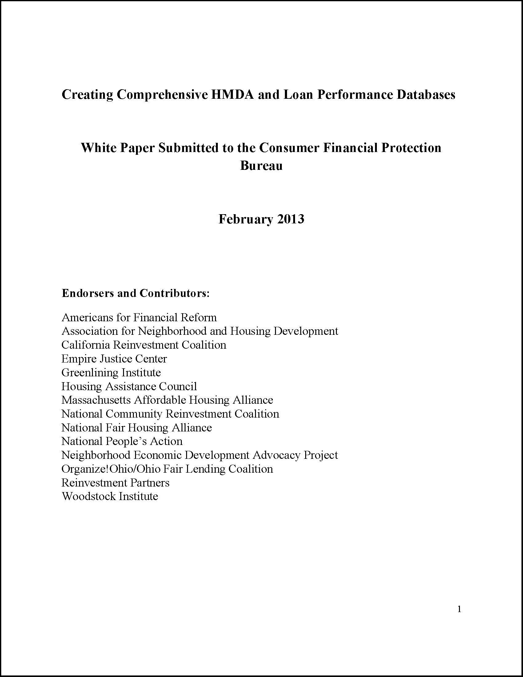 publications archives new economy project new economy project and allies issue policy paper urging the consumer financial protection bureau to strengthen the home mortgage disclosure act and expand