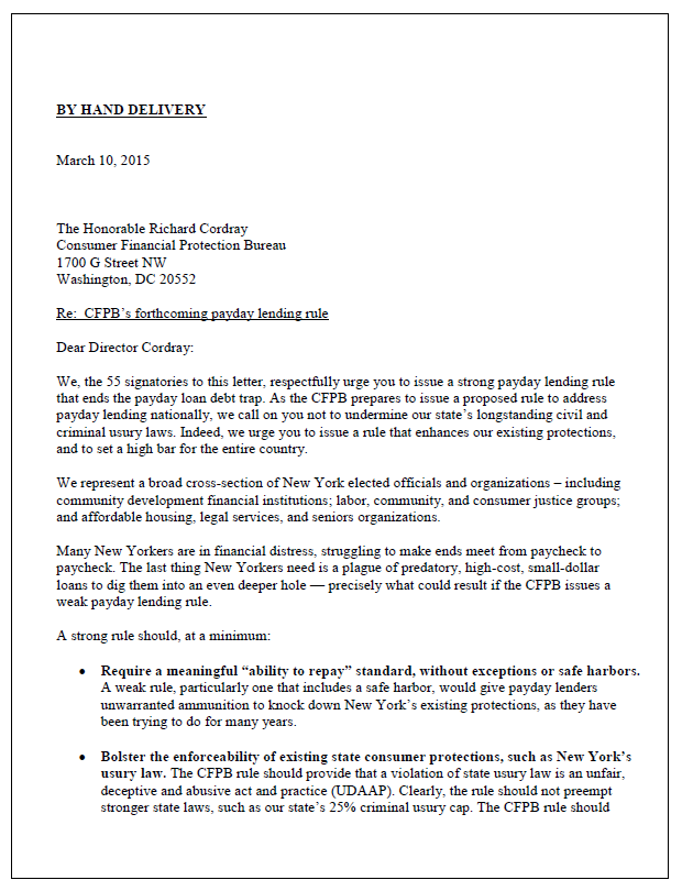 New Yorkers to CFPB: We need a strong payday lending rule!  New