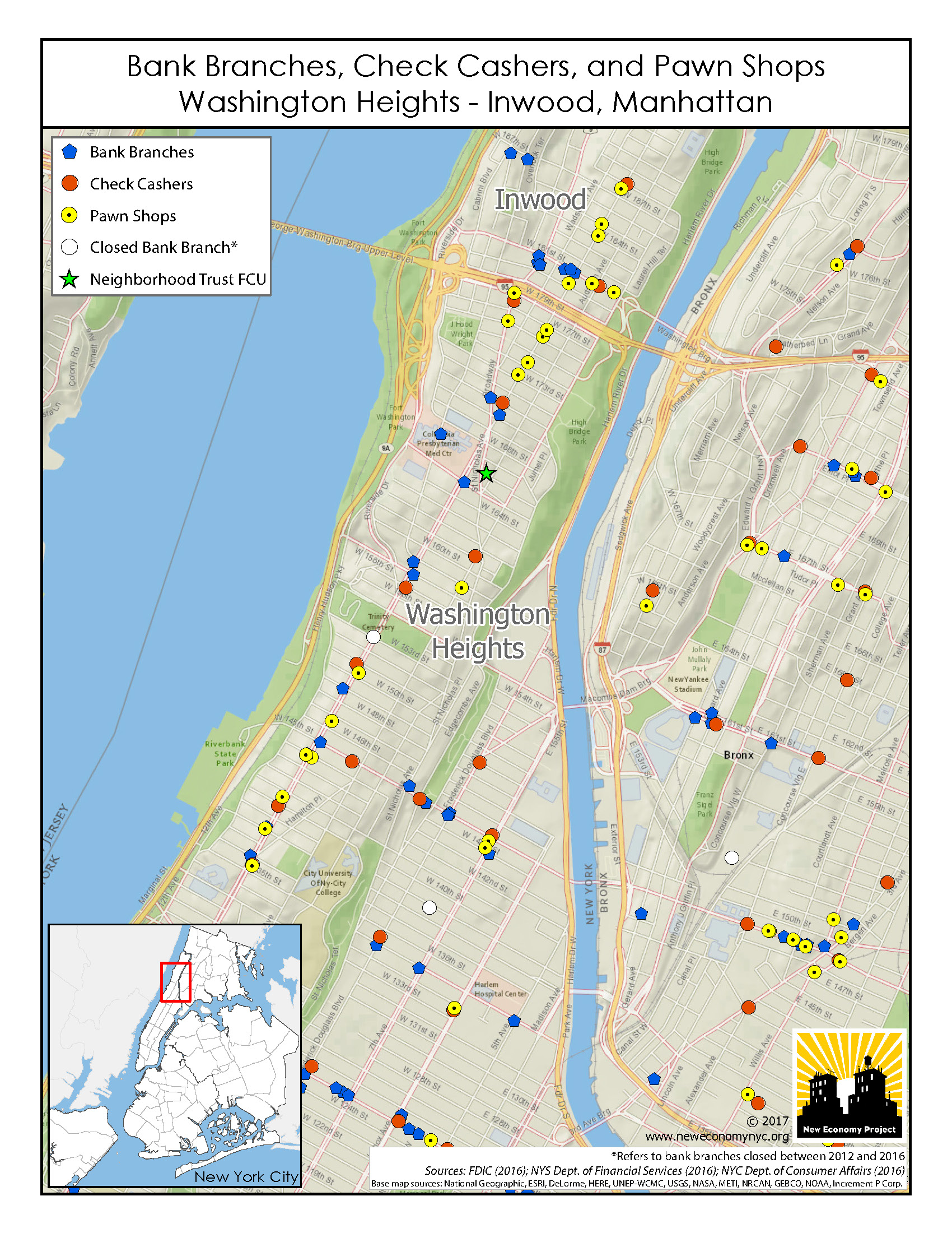 Maps Financial Services In NYC Neighborhoods New Economy Project - New york neighborhood map