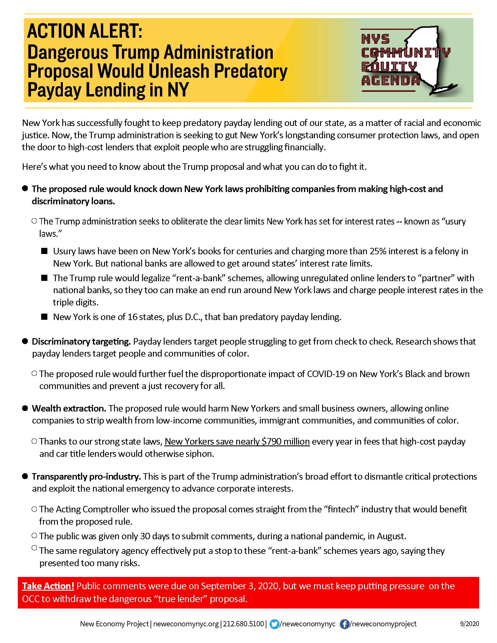 ACTION ALERT: Dangerous Trump Administration Proposal Would Unleash Predatory Payday Lending in NY